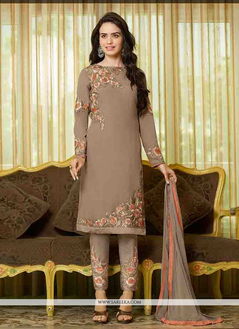 Georgette Embroidered Work Straight Suit