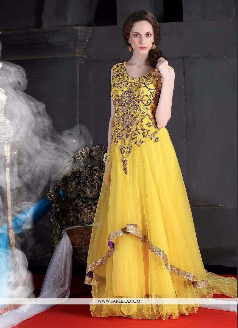 Yellow Resham Work Designer Gown -