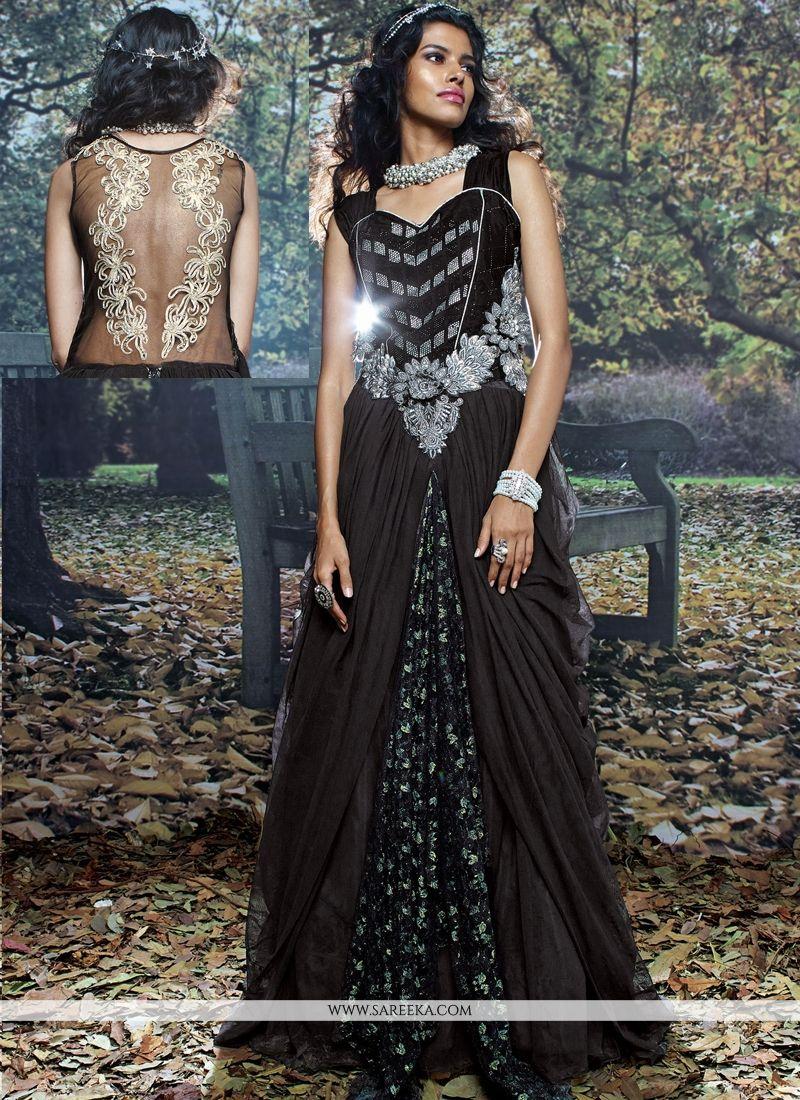 Net Brasso Black Resham Work Designer Gown