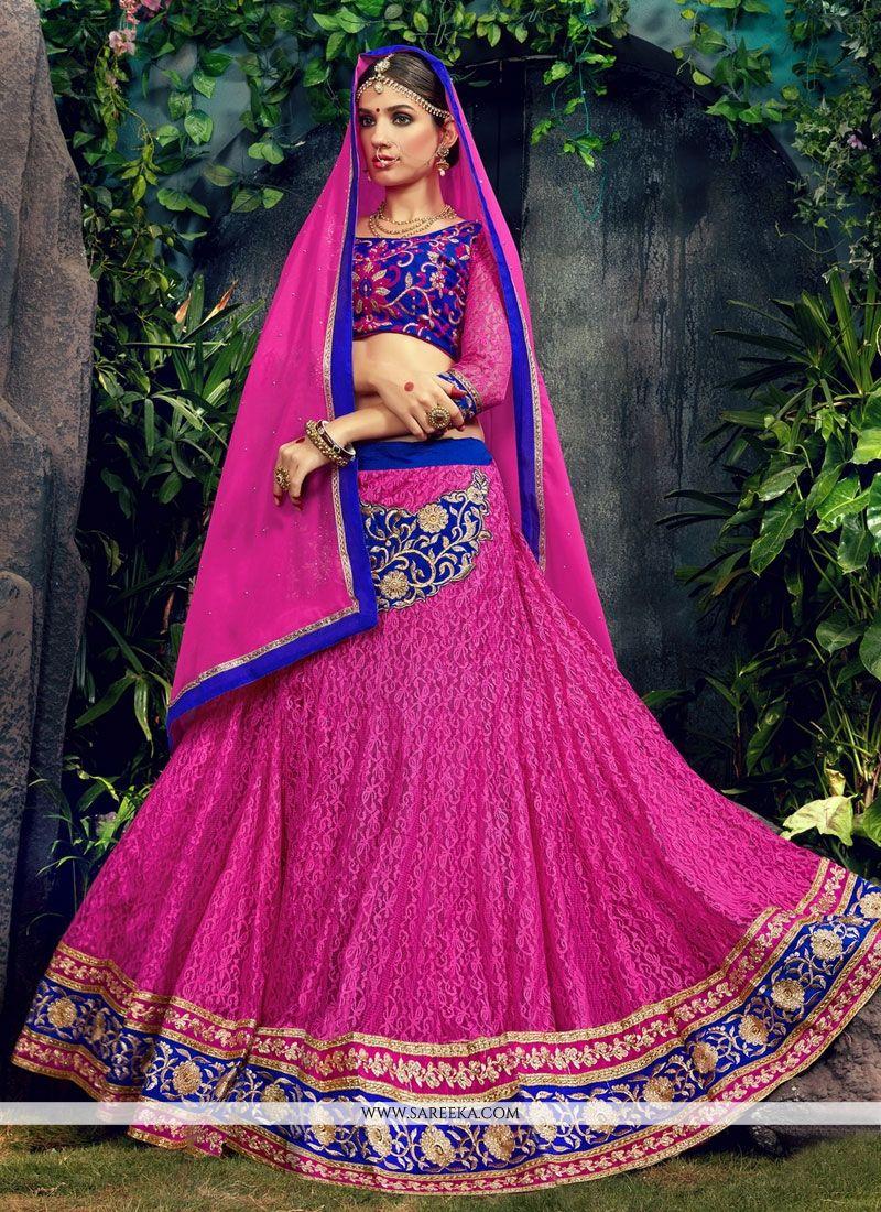 Patch Border Work Pink Designer Lehenga Choli