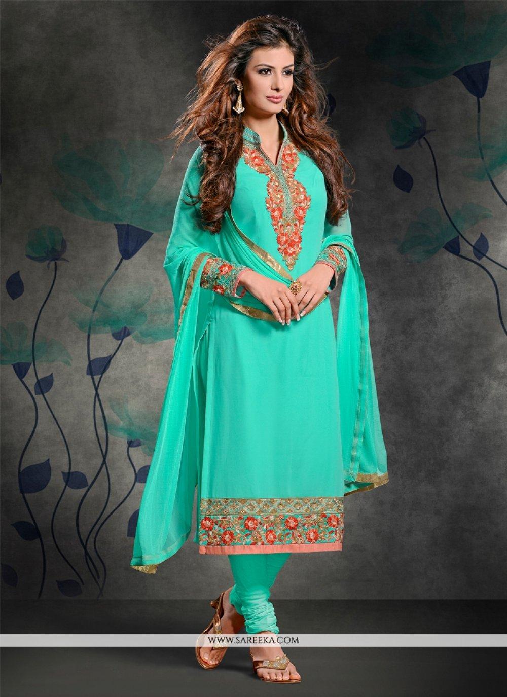 Resham Work Georgette Churidar Salwar Suit