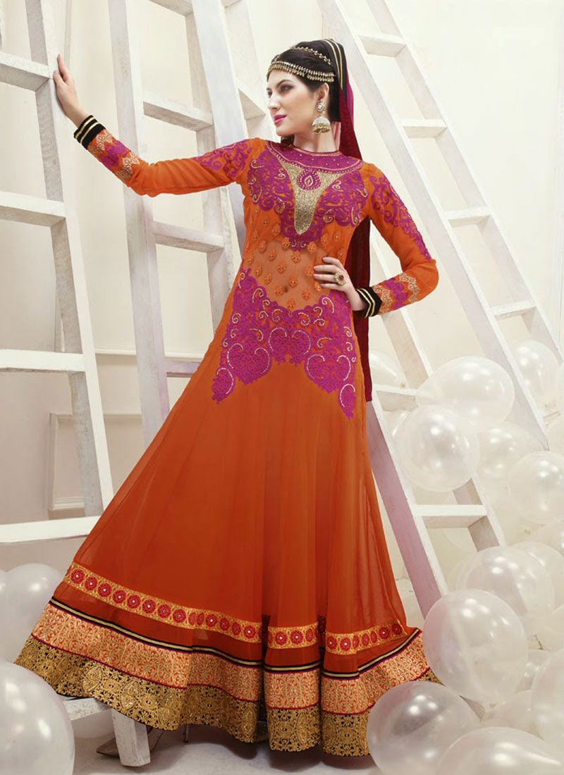 Movable Orange Resham Work Georgette Anarkali Suit