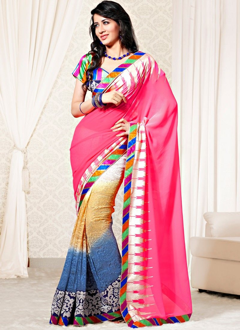 Multi Color Faux Georgette And Net Half And Half Saree