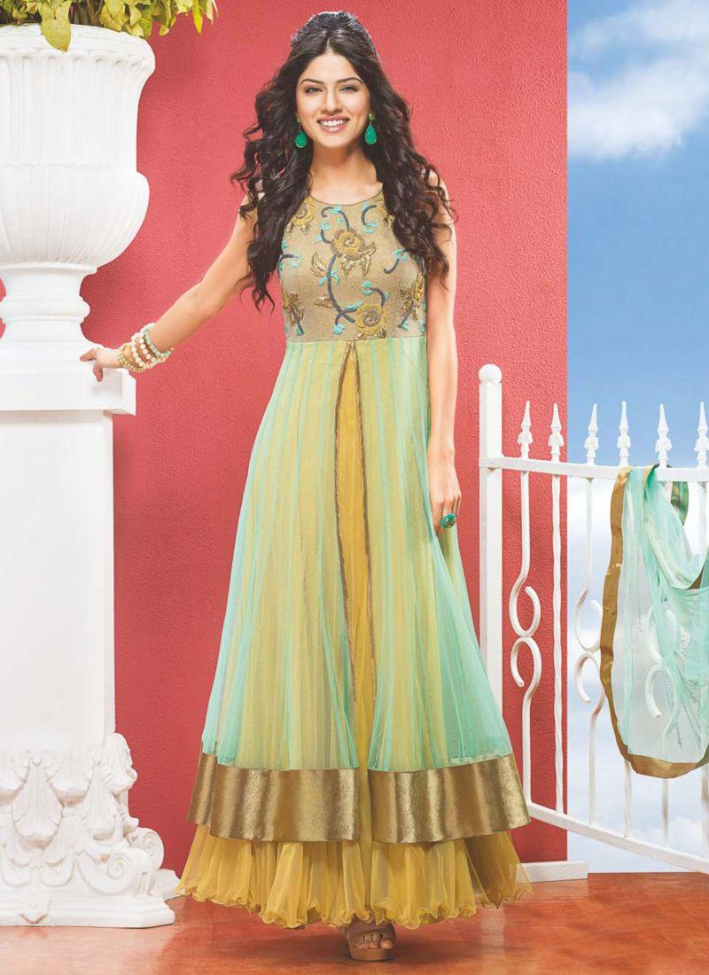 Multi Color Net Designer Anarkali Suit