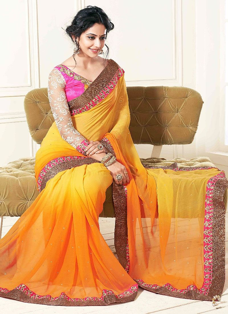 Multi Color Patch Border Georgette Designer Saree