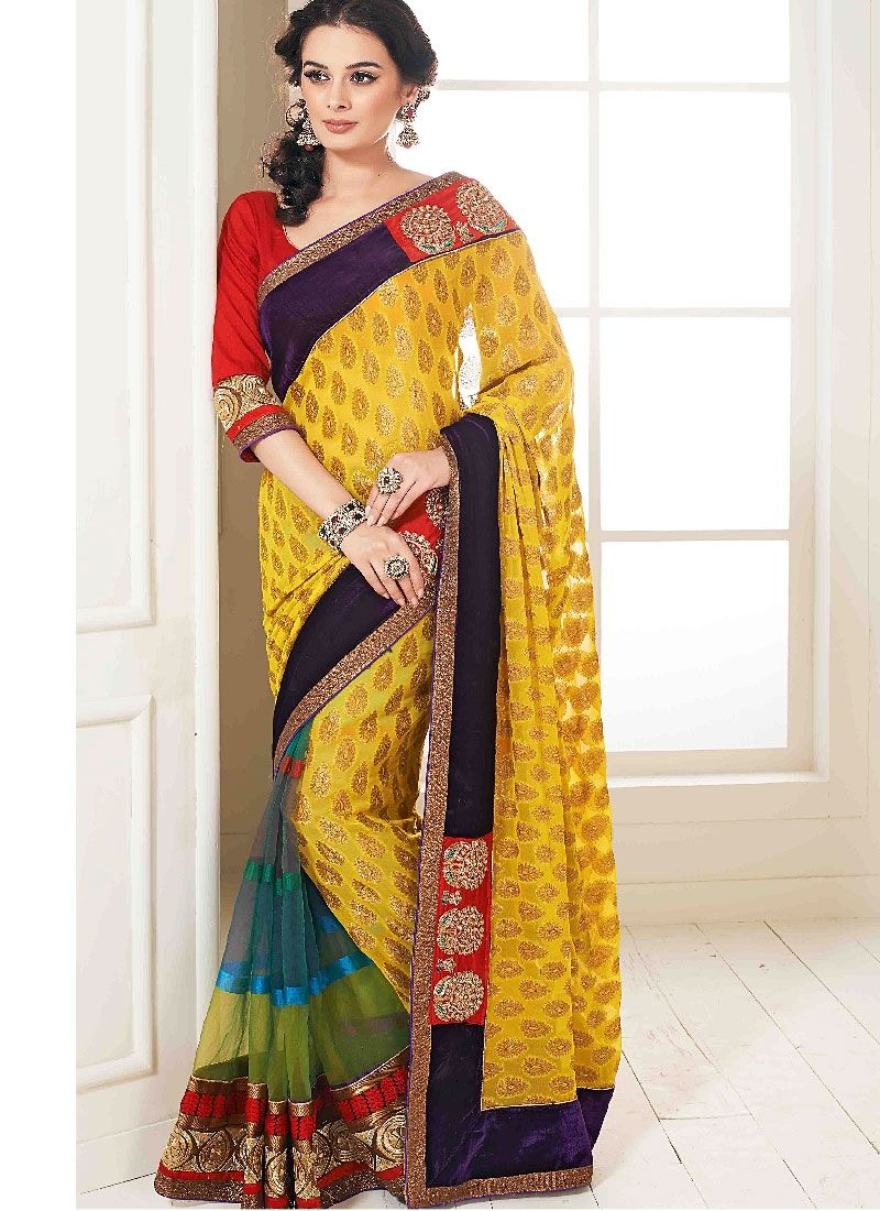 Multi Color Patch Border Georgette Net Designer Saree