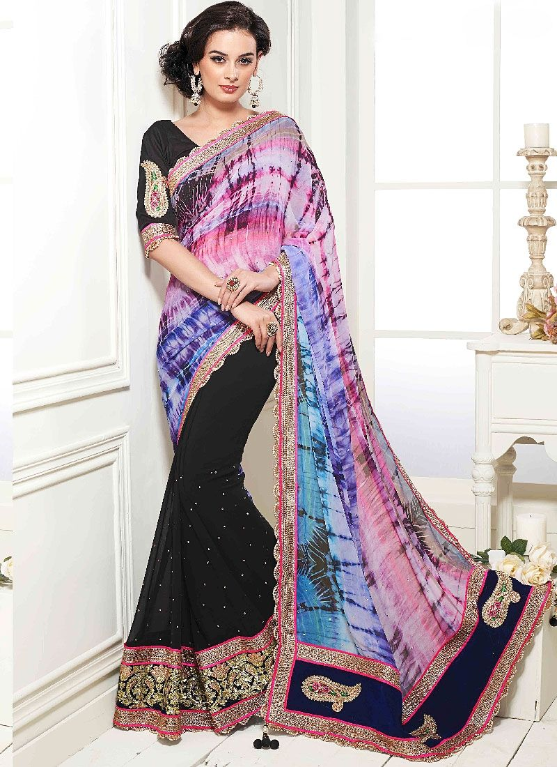 Multi Color Patch Border Work Georgette Designer Saree