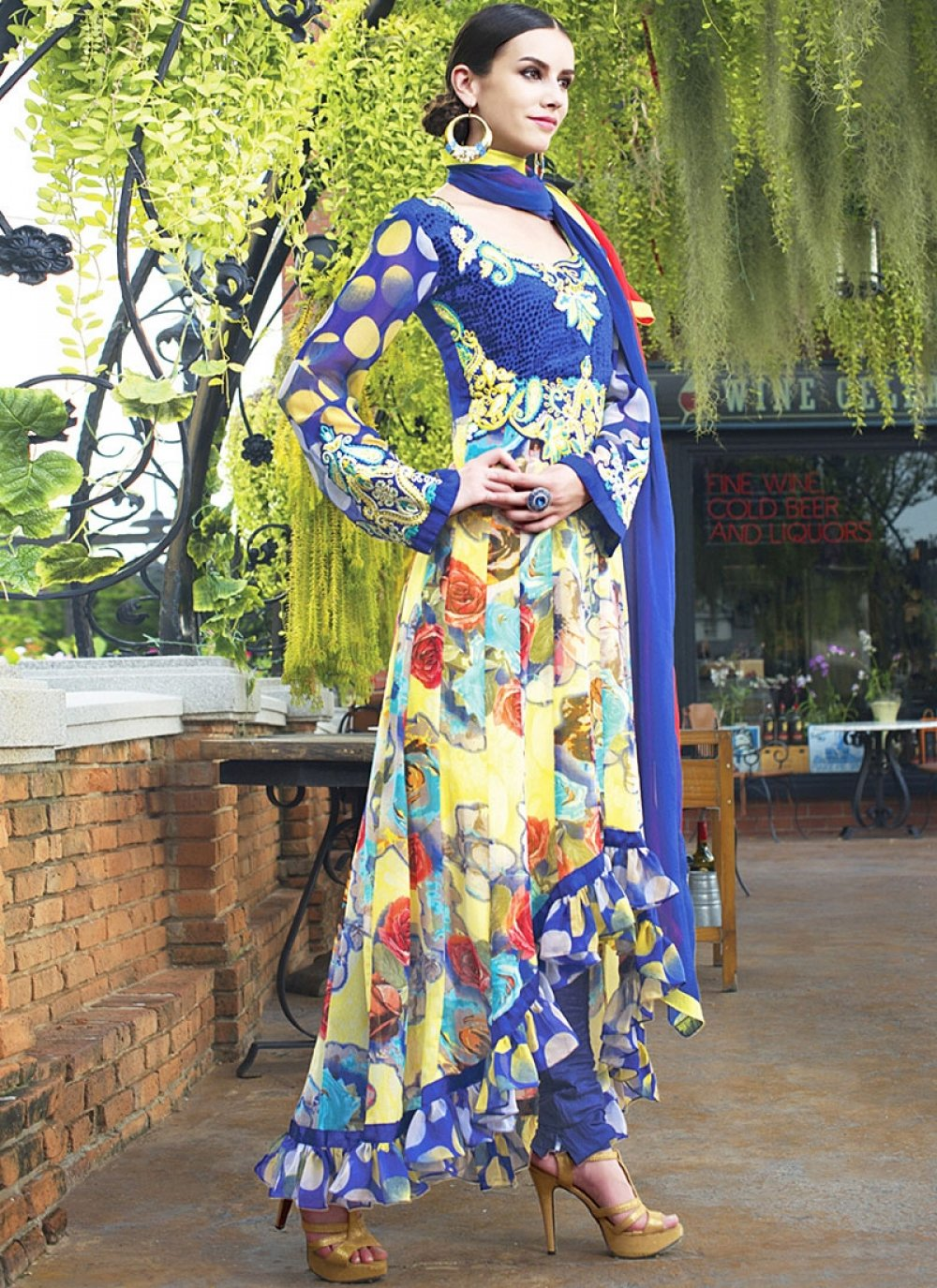 Multi Color Printed Faux Georgette Anarkali Suit