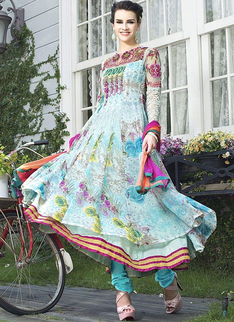 Multi Color Printed Faux Georgette Net Anarkali Suit