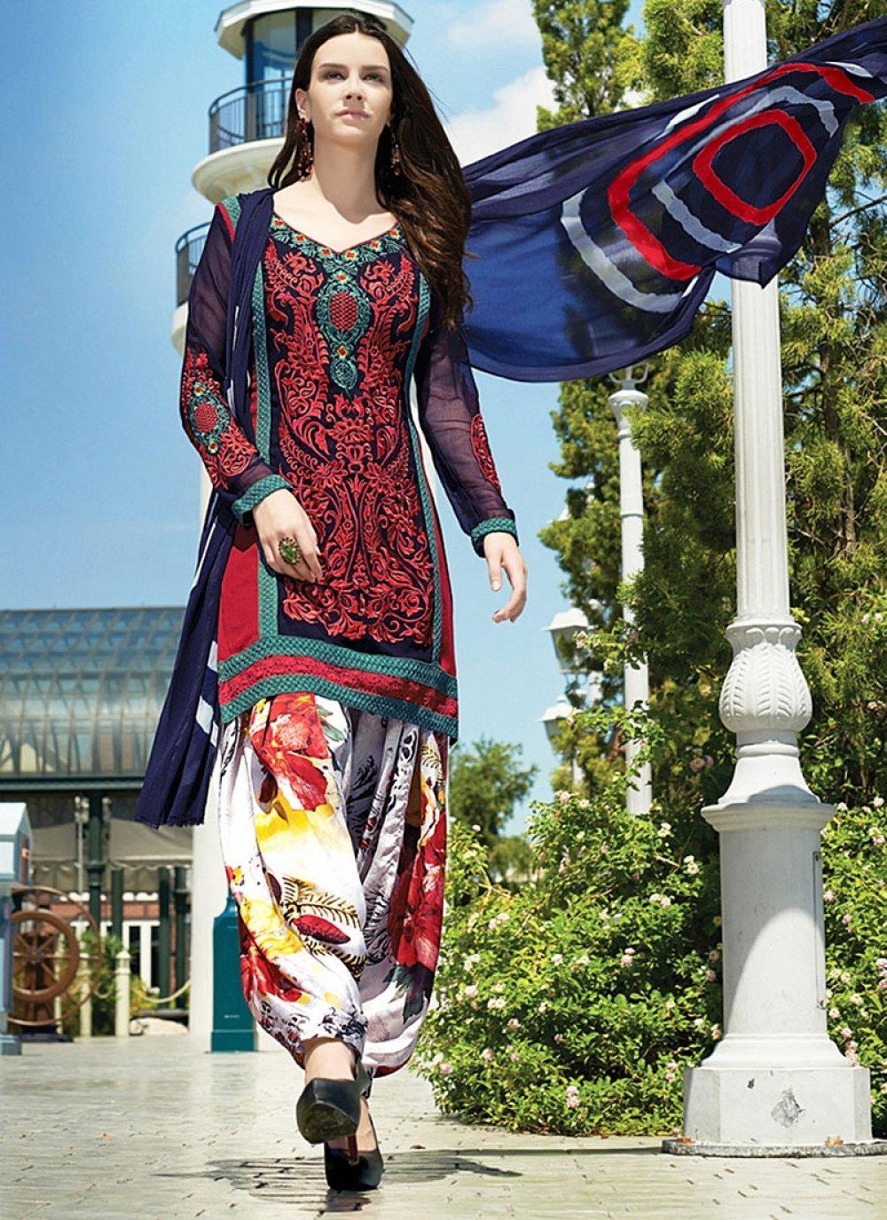 Multi Color Resham Faux Georgette Net Punjabi Suit