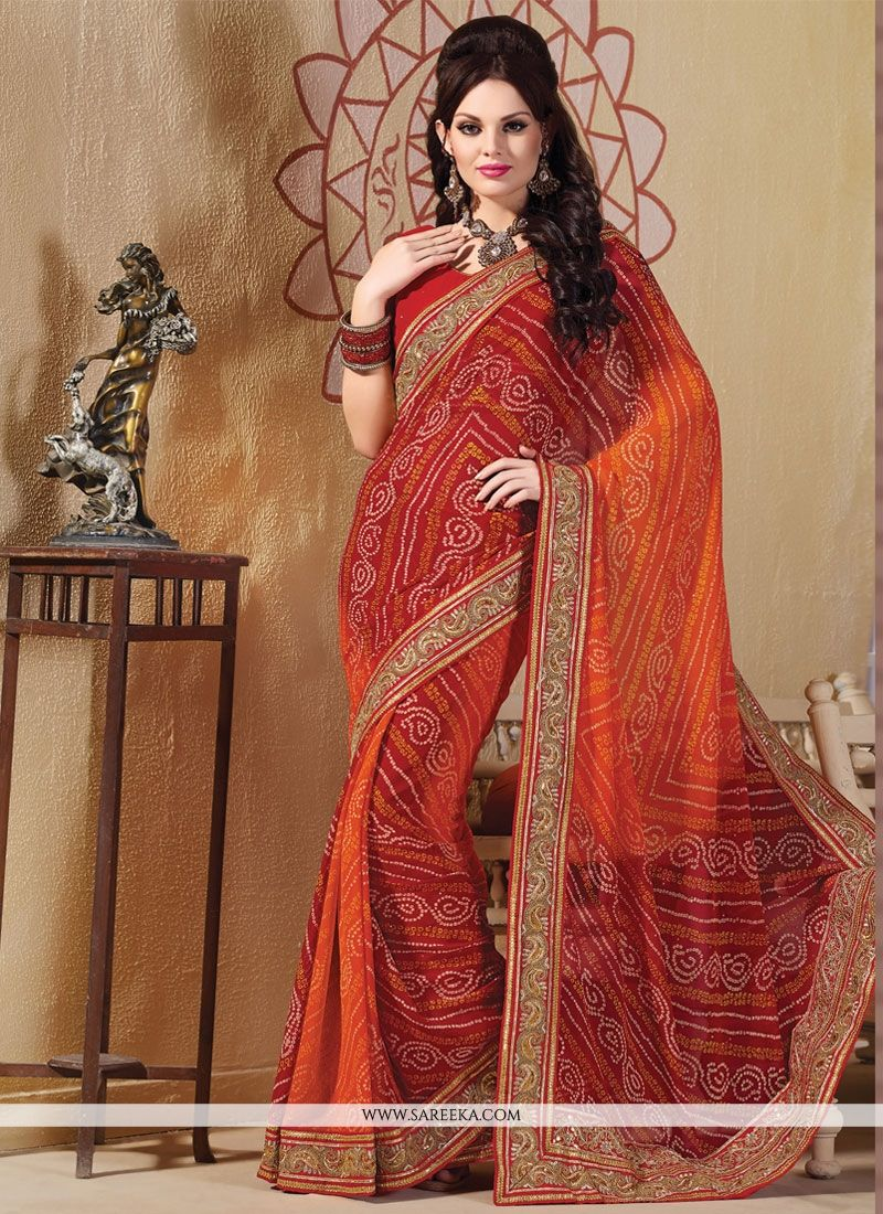 Multi Colour Patch Border Work Georgette Designer Saree