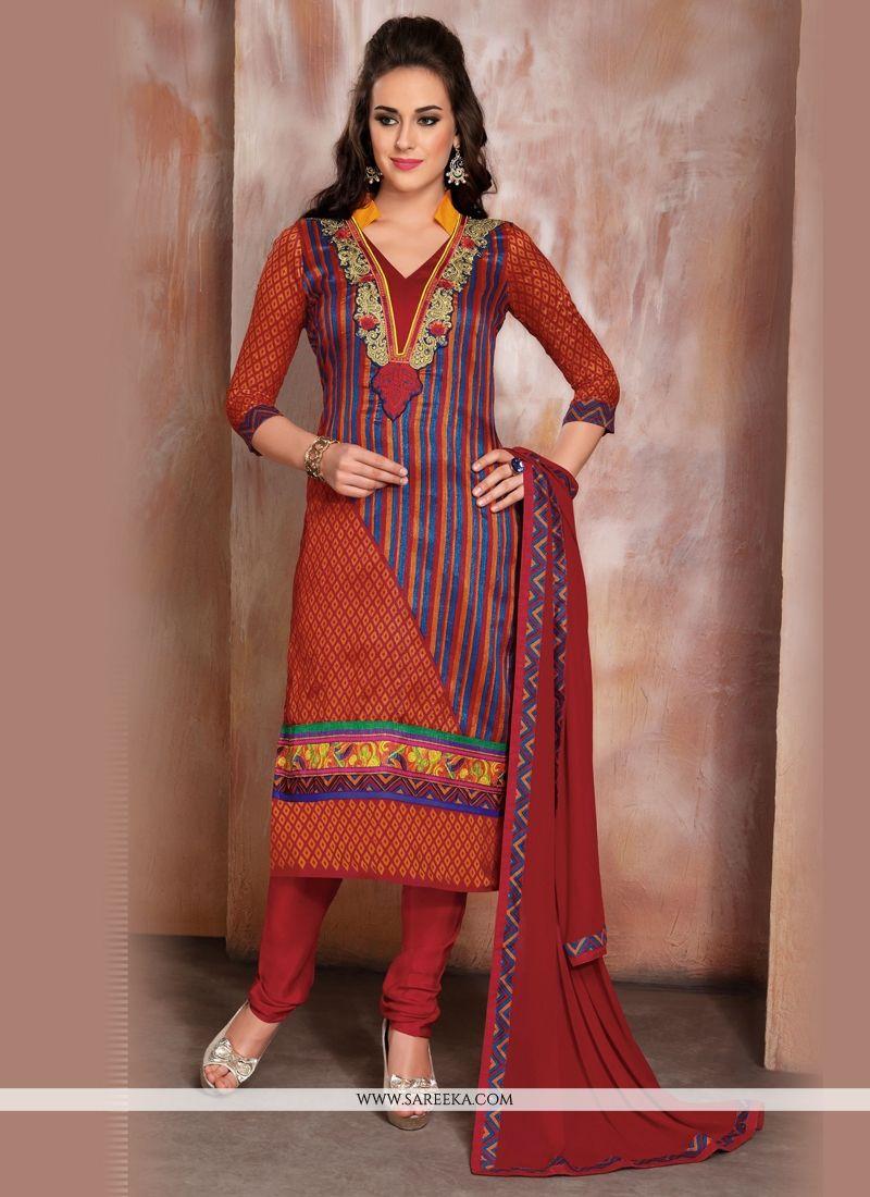 Multi Colour Raw Silk Churidar Designer Suit