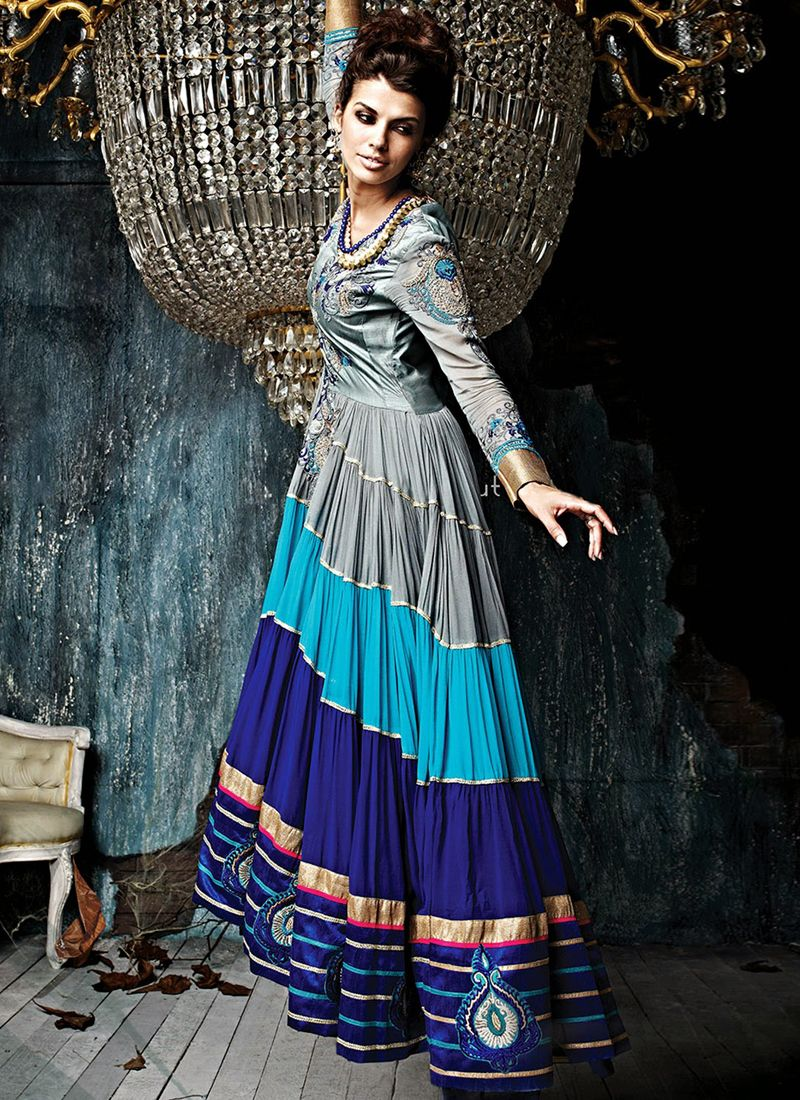 Multicolor Art Silk Anarkali Suit