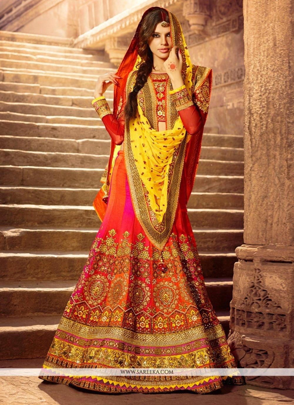 Multicolor Art Silk Wedding Lehenag Choli
