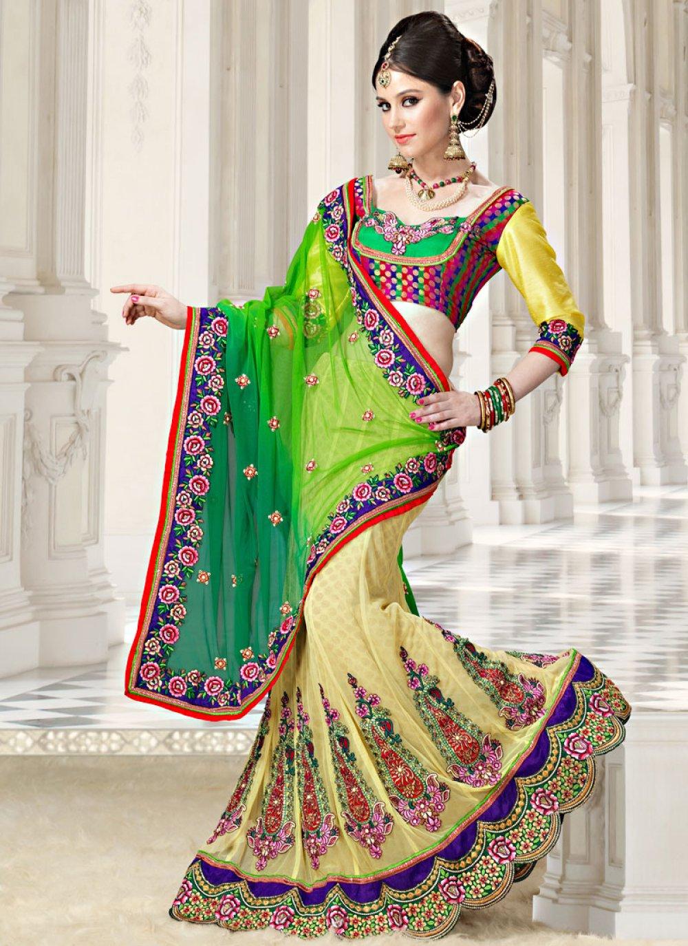 Multicolor Brocade And Net Lehenga Saree