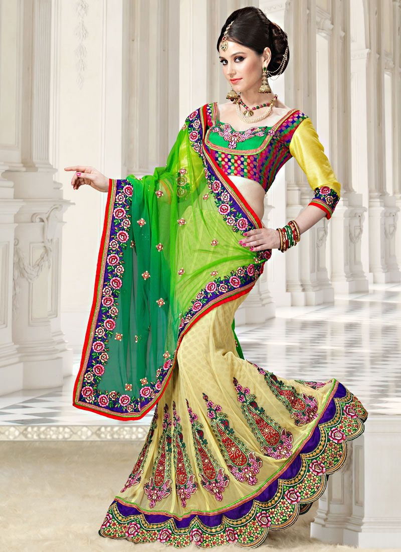 Multicolor Brocade And Net Lehenga Saree