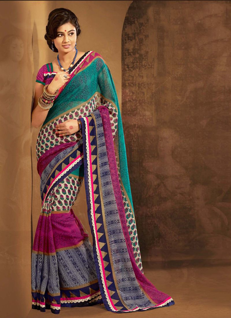 Multicolor Cotton Silk Casual Saree