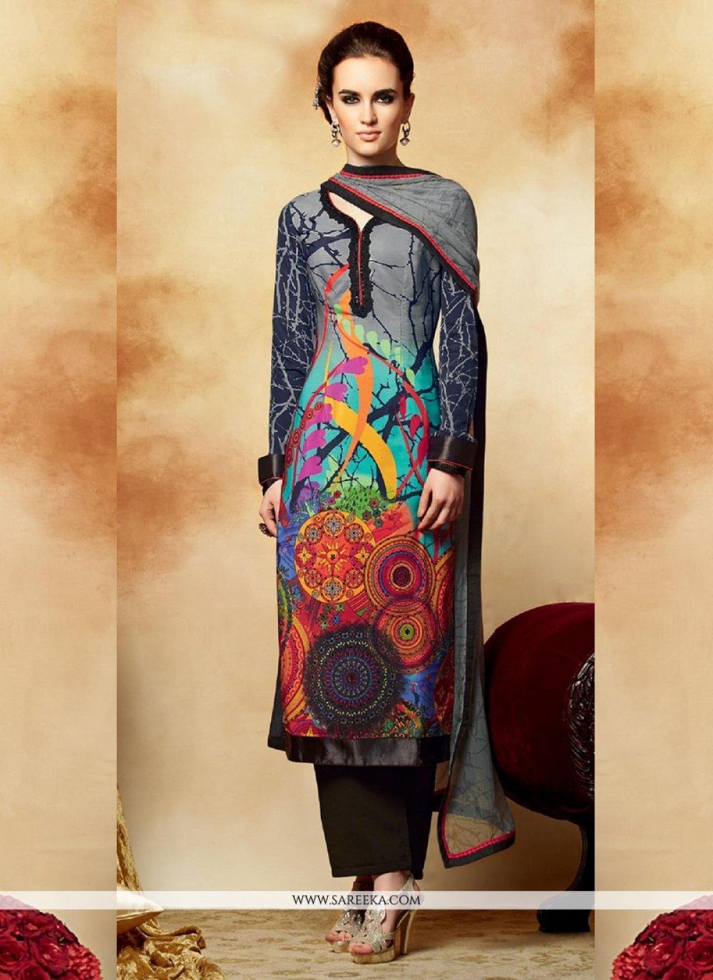 Multicolor Crepe Pakistani Salwar Suit