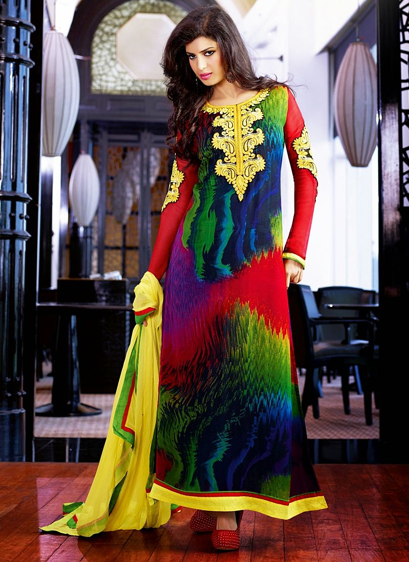 Multicolor Embroidery Work Churidar Salwar Suit