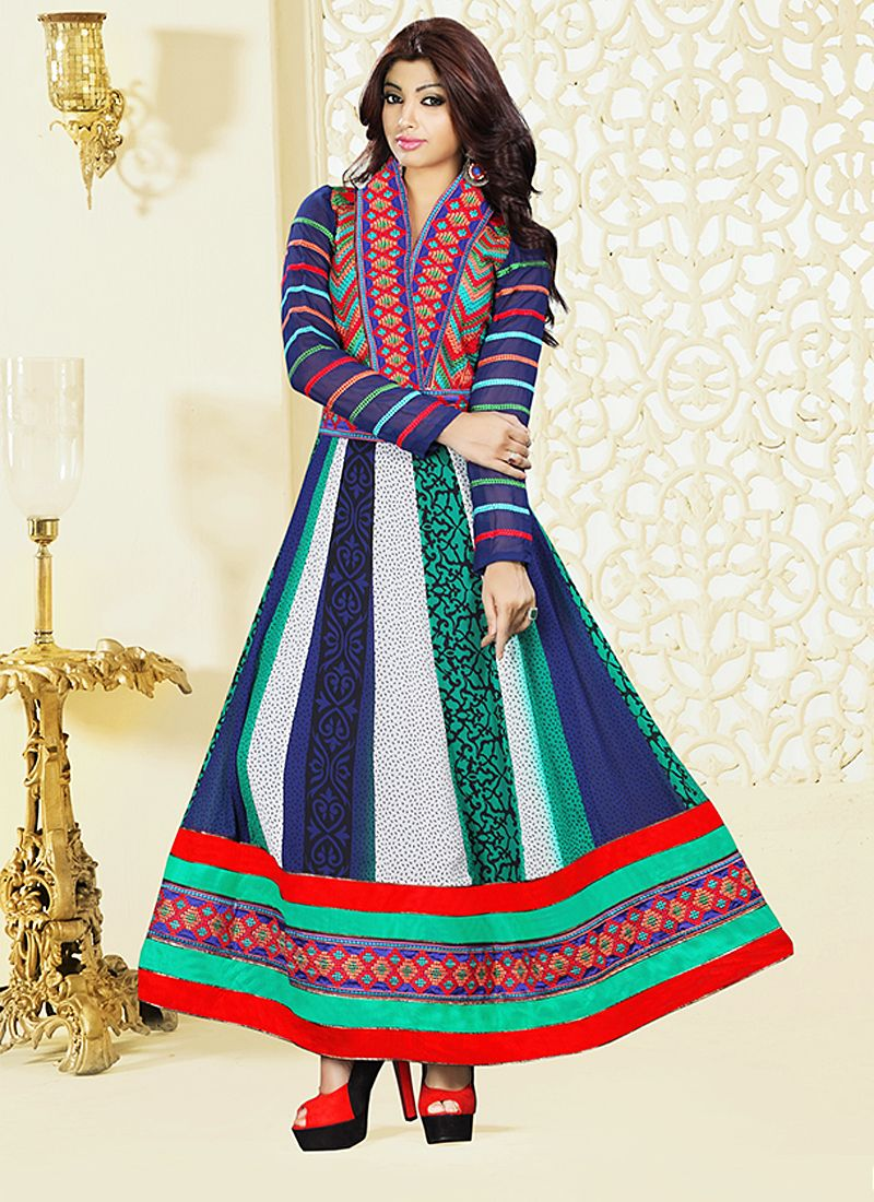 Multicolor Embroidery Work Anarkali Suit