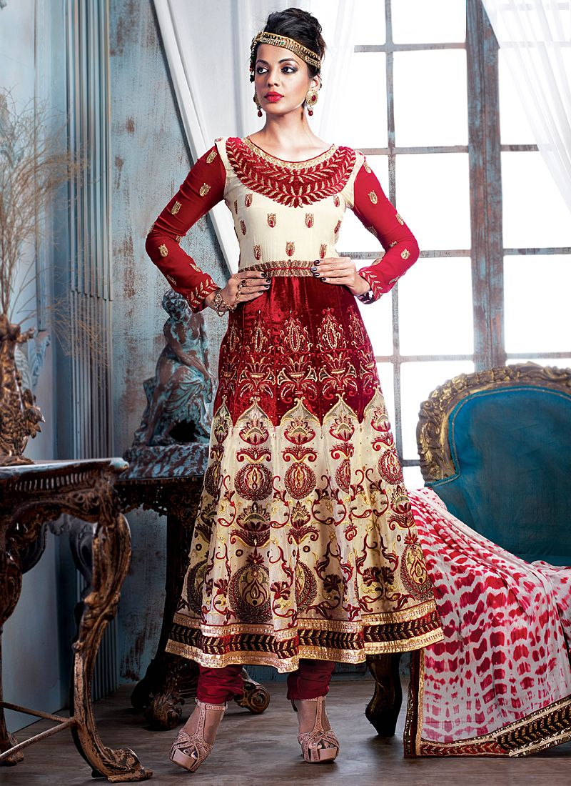 Multicolor Embroidery Work Georgette Anarkali Suit
