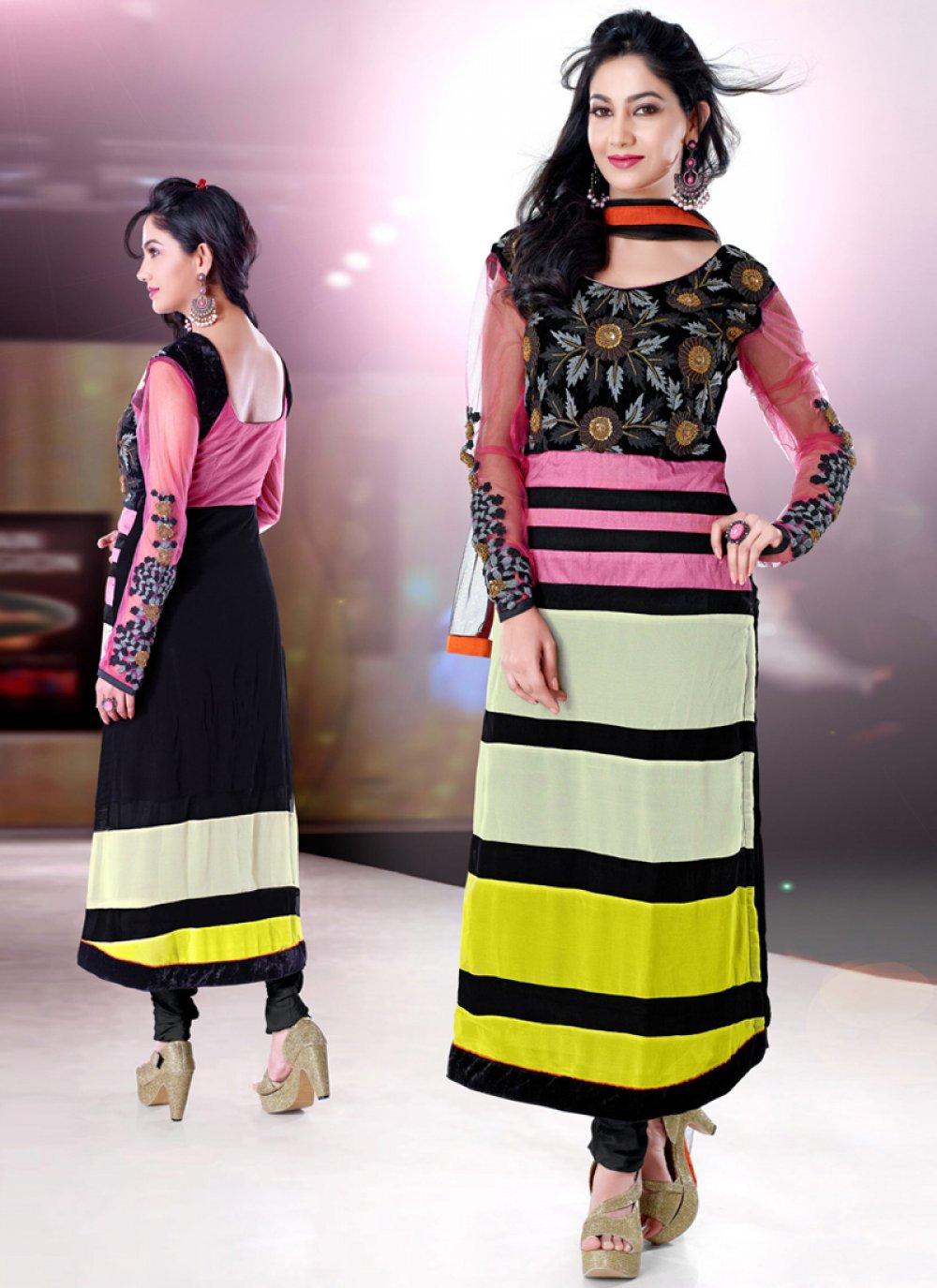Multicolor Georgette Anarkali Salwar Suit
