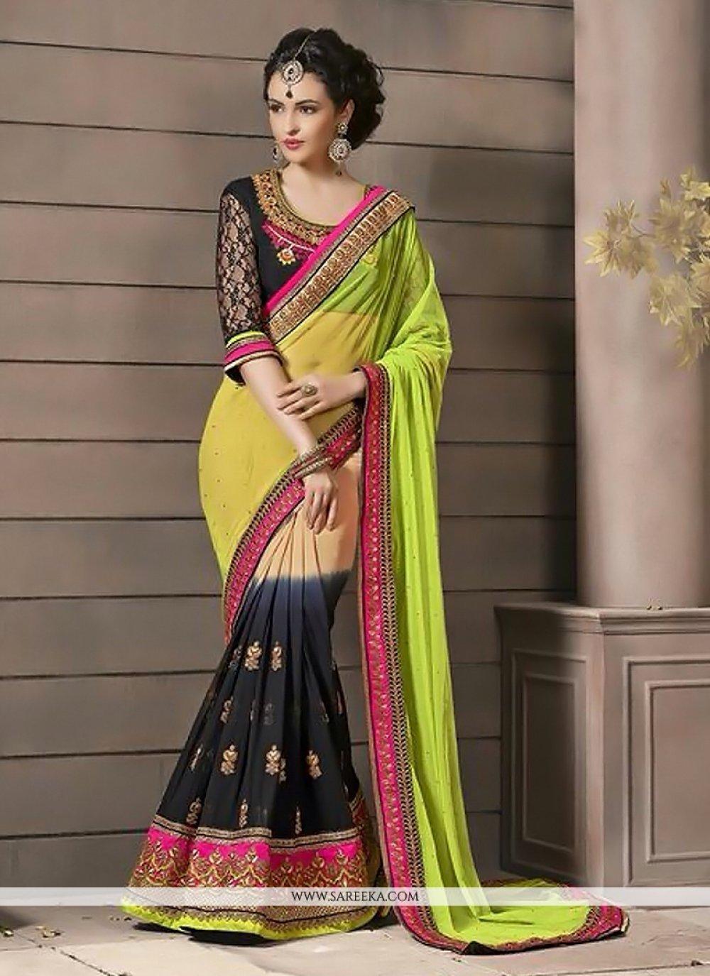 Multicolor Georgette And Soft Net Designer Saree