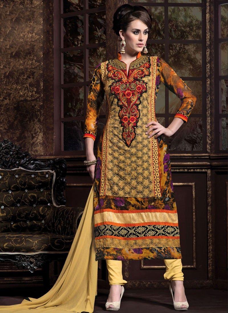 Multicolor Georgette Churidar Suit