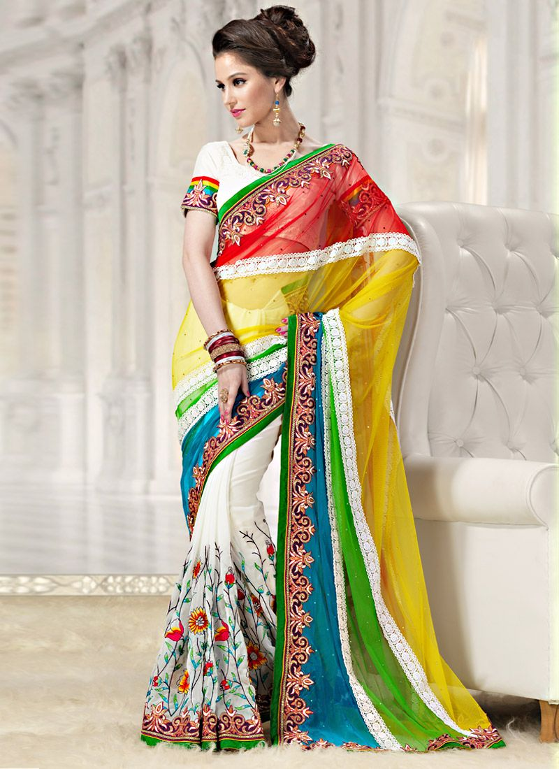 Multicolor Half And Half Embroidered Saree