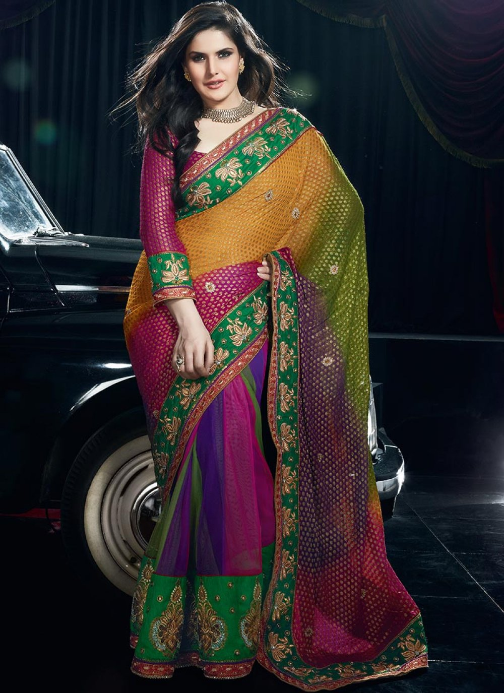 Multicolor Kalidar Lehenga Saree