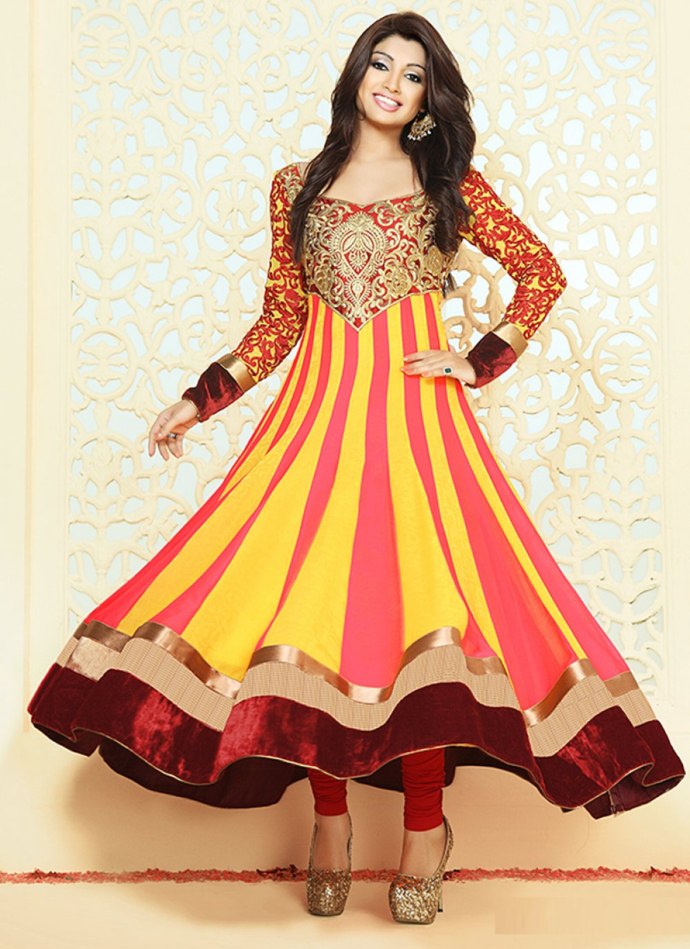 Multicolor Patch Border Work Georgette Anarkali Suit