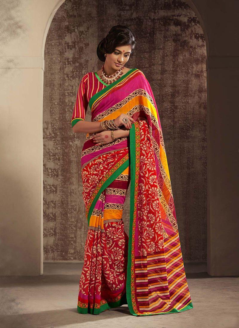 Multicolor Printed Cotton Silk Saree