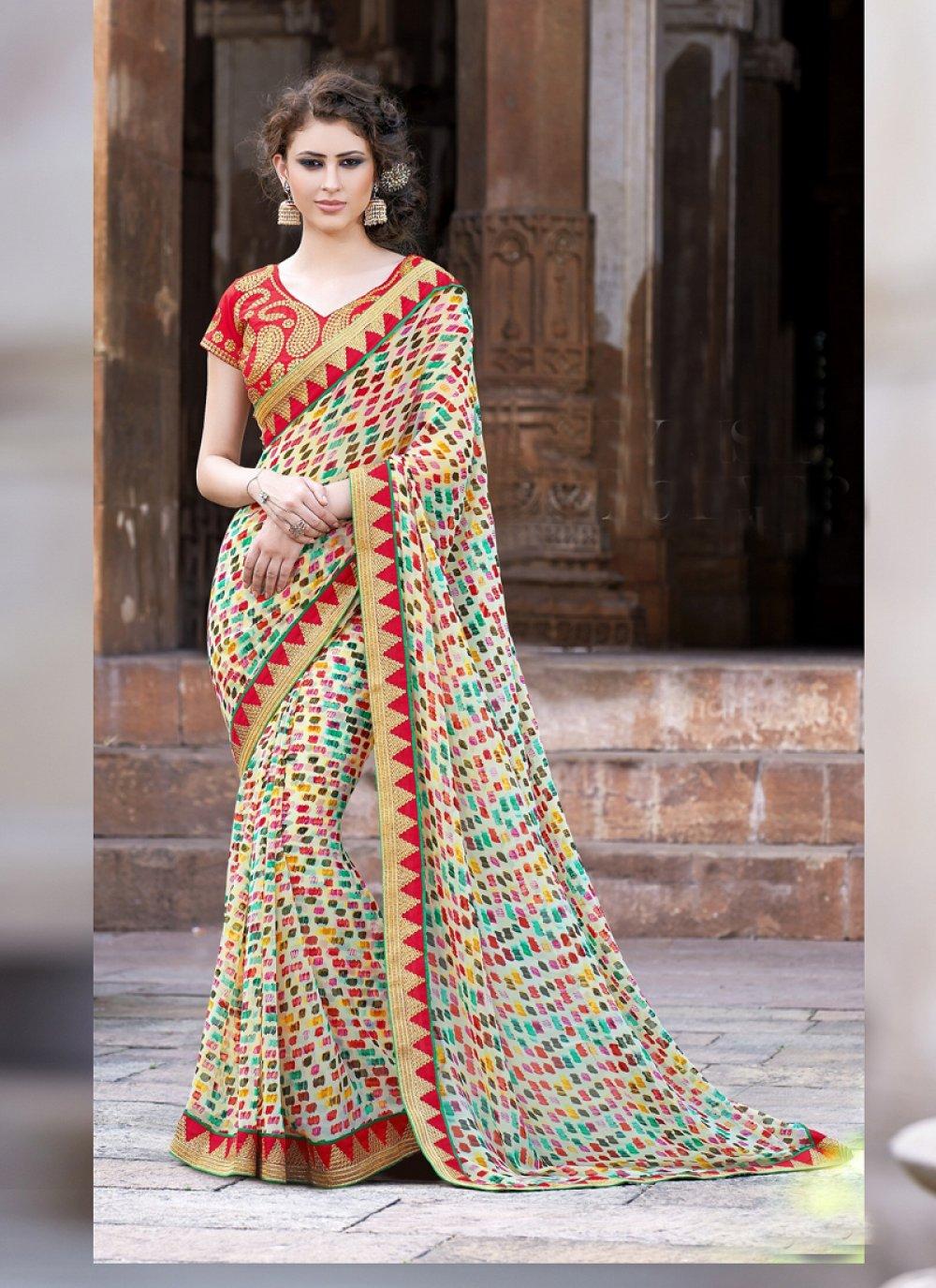 Multicolor Printed Designer Casual Saree