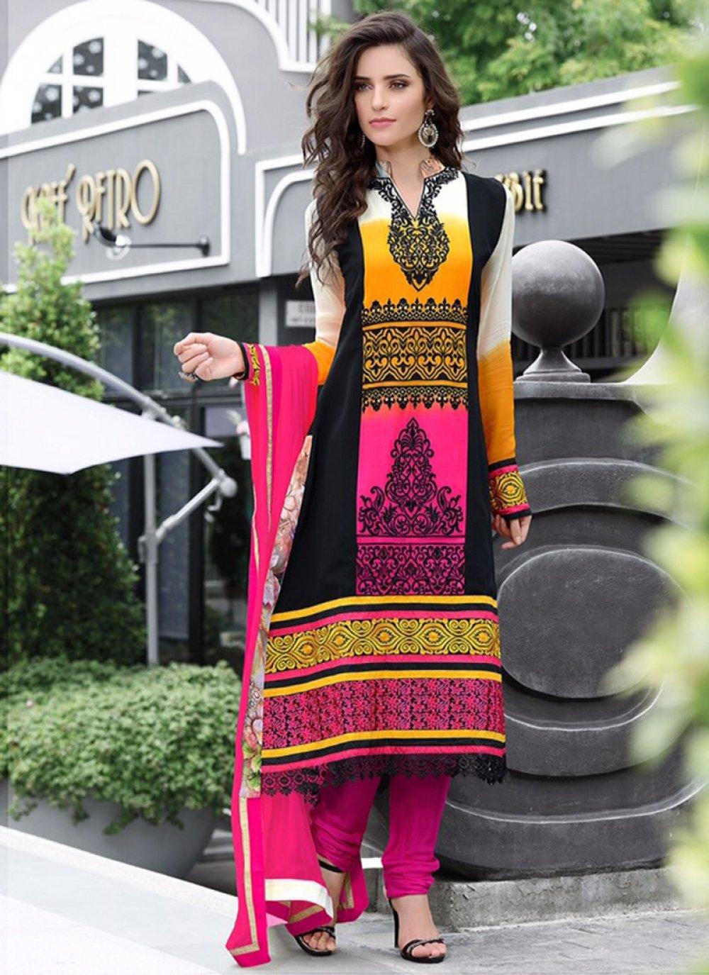 Multicolor Pure Georgette Churidar Suit