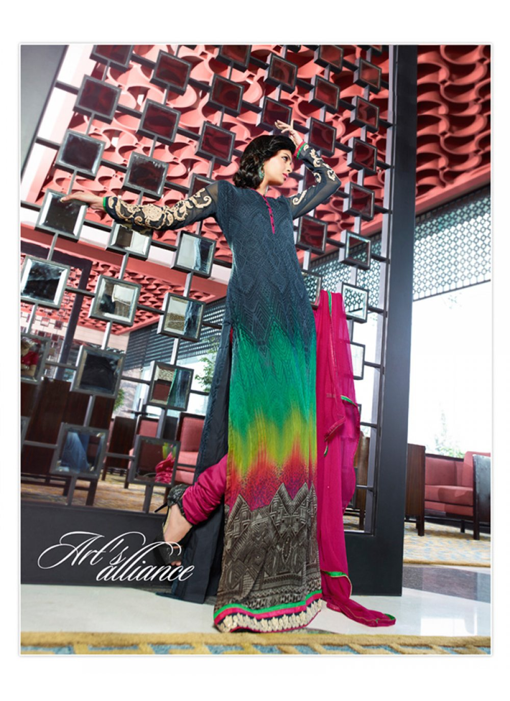 Multicolor Resham Work Churidar Salwar Suit