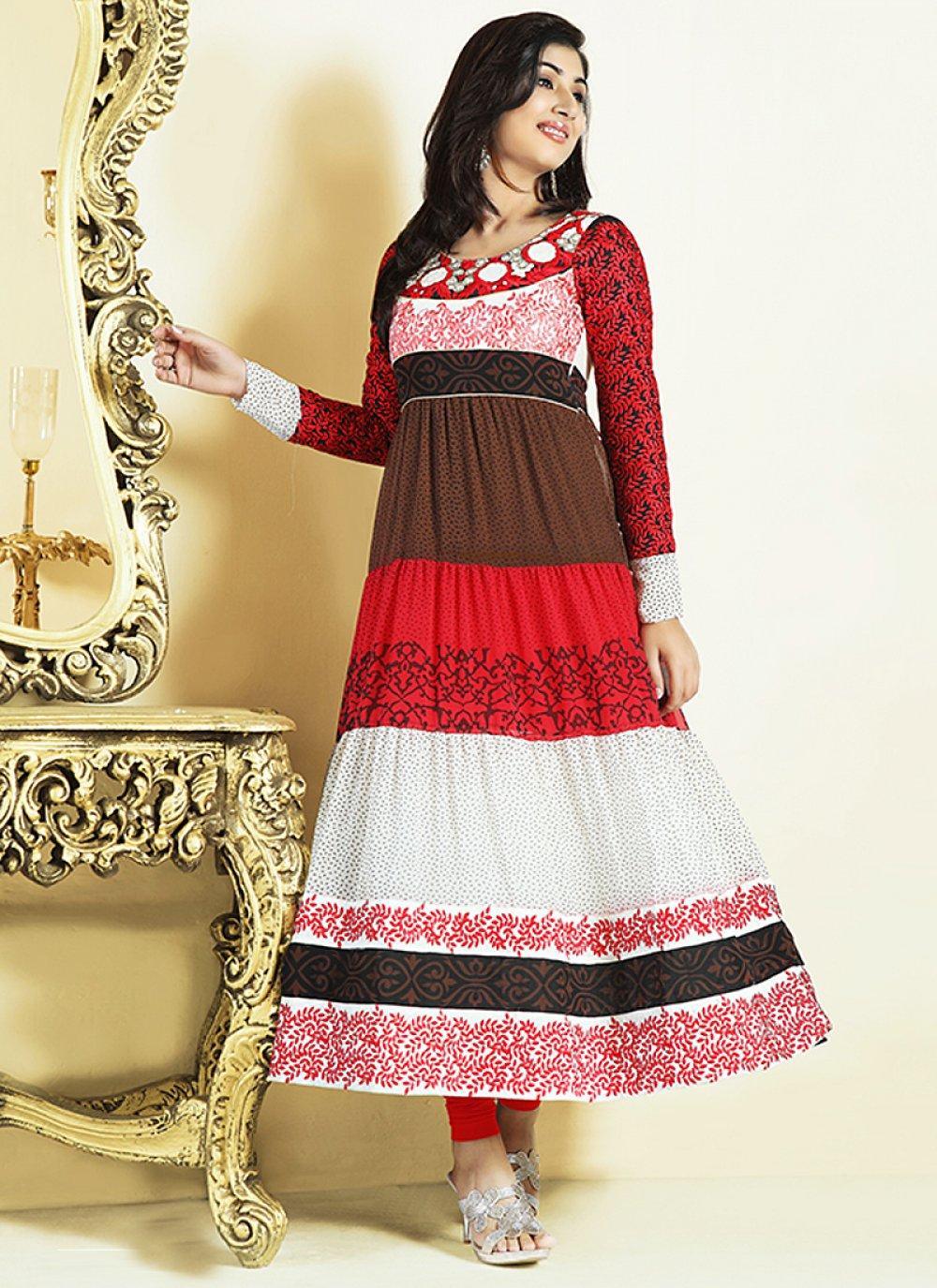 Multicolor Resham Work Faux Georgette Anarkali Suit