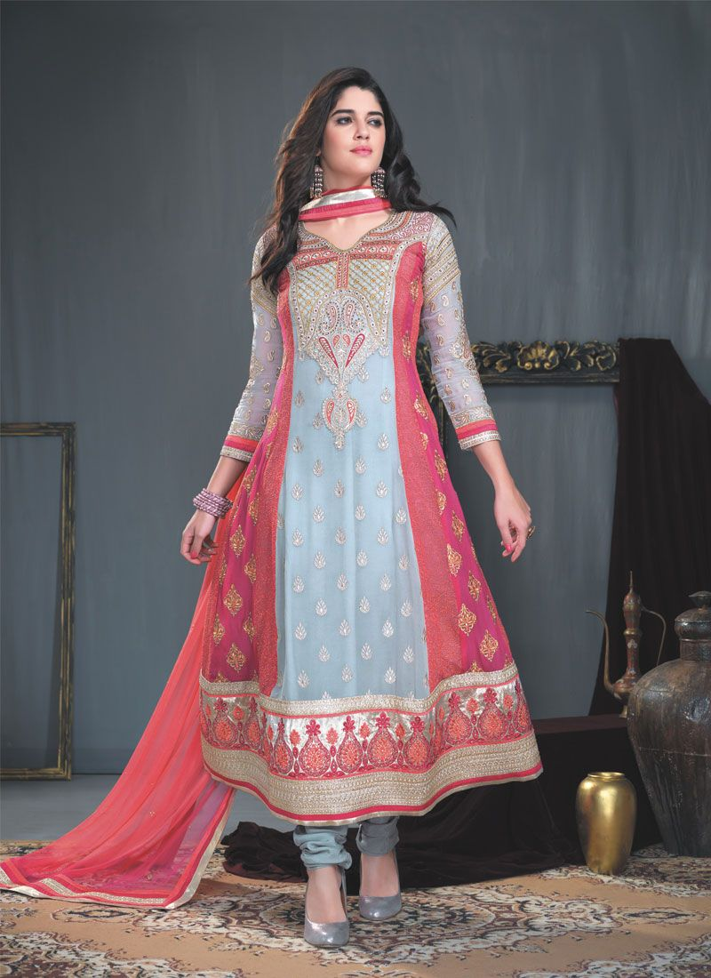 Multicolor Resham Work Georgette Anarkali Suit