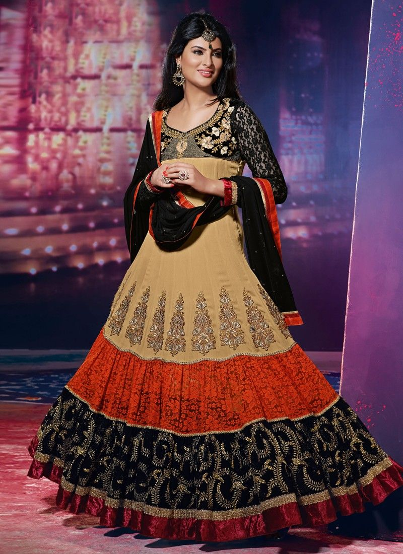 Multicolor Resham Work Net Anarkali Suit