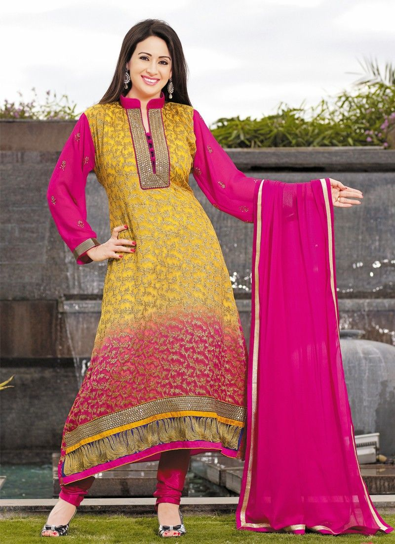 Multicolor Resham Work Viscose Churidar Suit