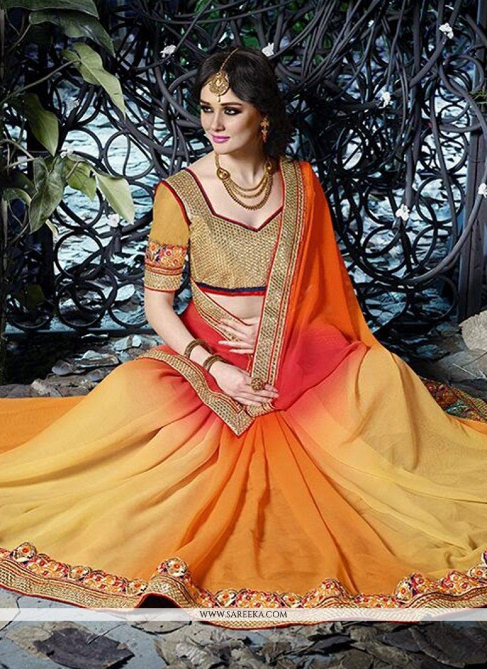 Multicolor Shaded Chiffon Saree