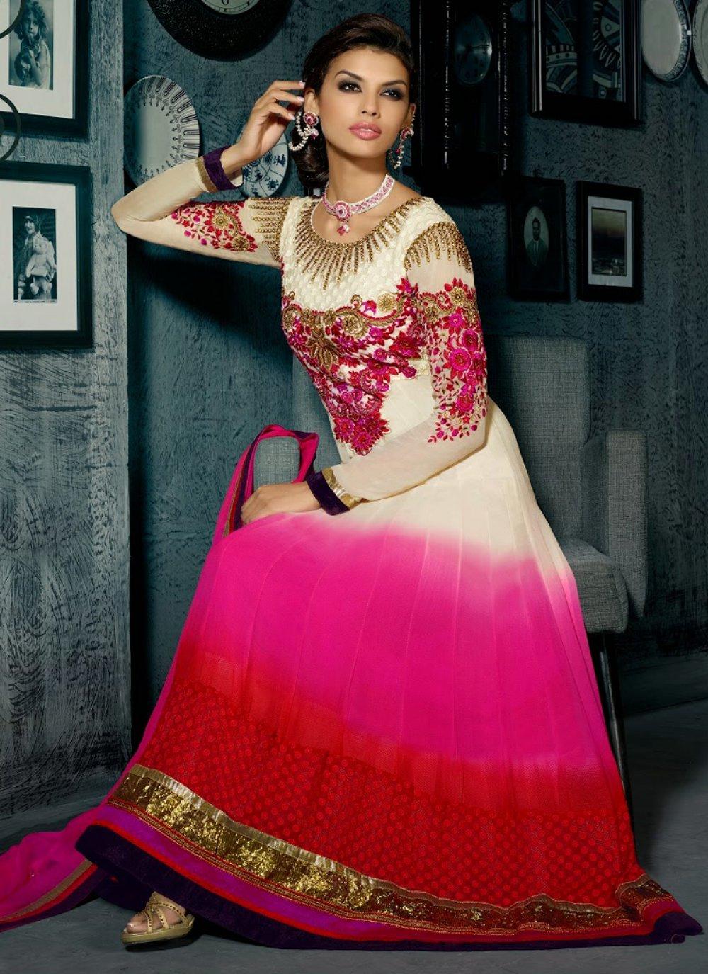 Multicolor Shaded Georgette Anarkali Suit