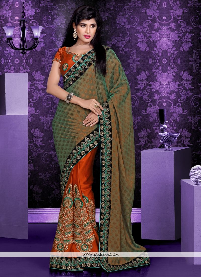 Multicolor Shaded Georgette And Satin Saree