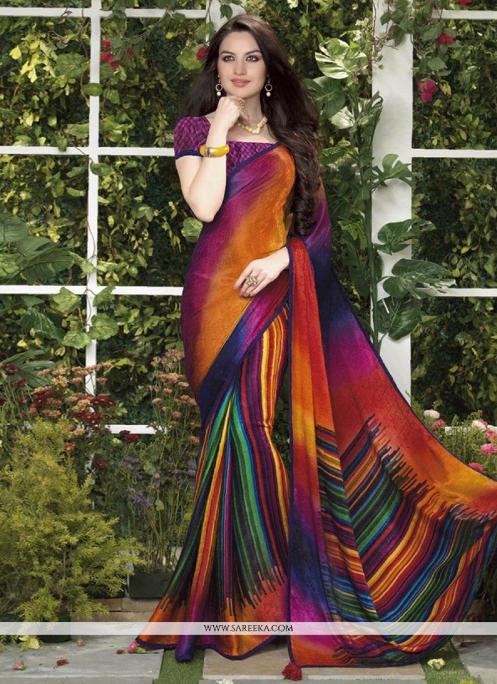 Multicolor Silk Jacquard Printed Casual Saree