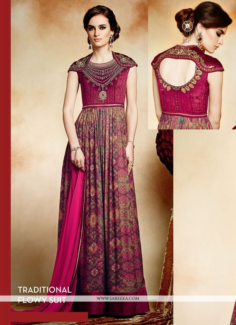 Multicolor Viscose Printed Anarkali Suit