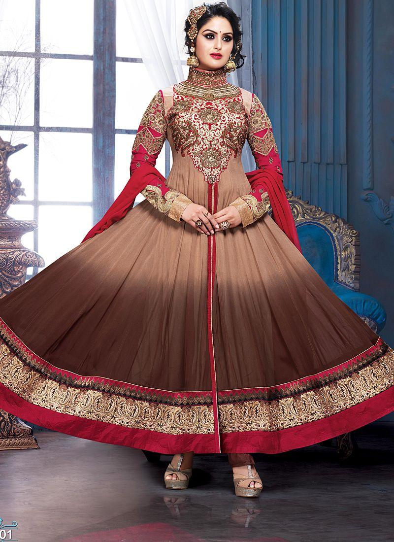 Multicolor Zari Border Work Anarkali Suit