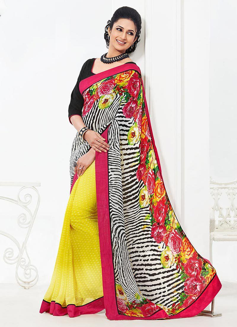 Multicolored Bember Georgette Half And Half Saree