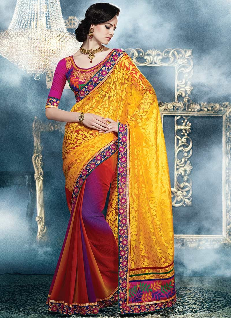 Multicolored Brasso Georgette Half And Half Saree