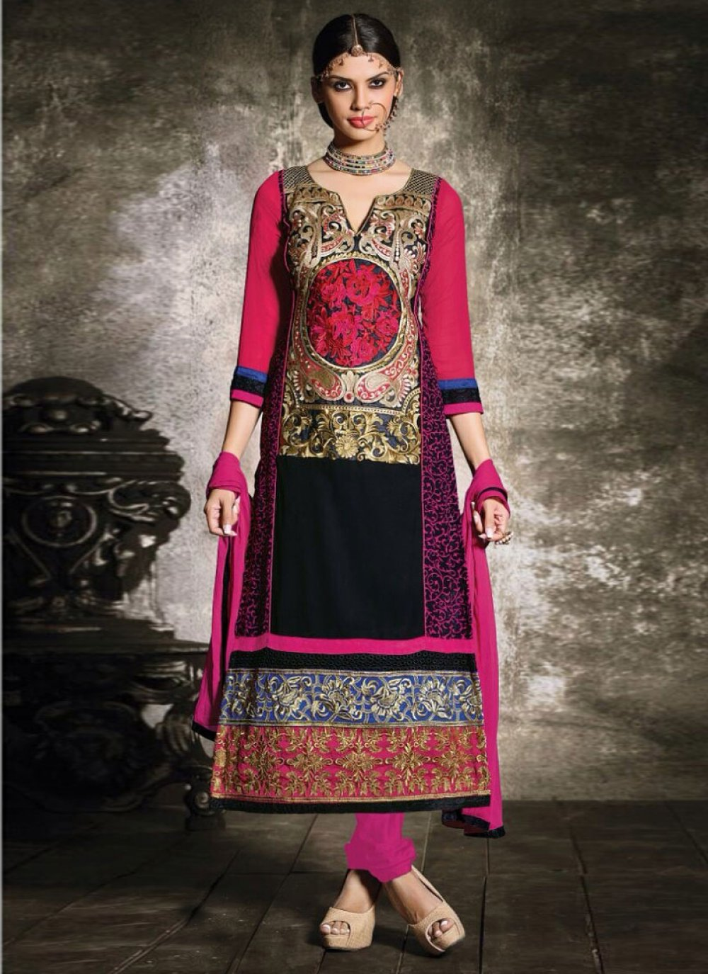 Multicolored Embroidery Churidar Suit