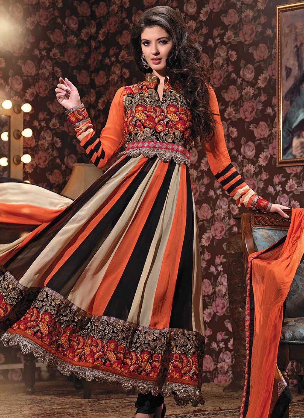 Multicolored Georgette Anarkali Suit
