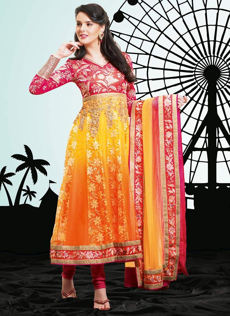 Multicolored Net Anarkali Suit
